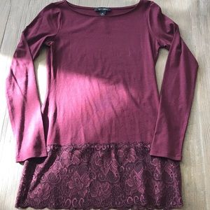 White House Black Market Long Sleeve Lace Trim Top